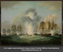 Four frigates capturing Spanish treasure ships